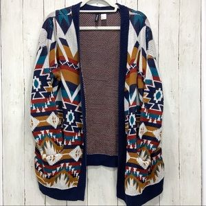 Slouchy Aztec Tribal Oversized Cardigan Boho Fall